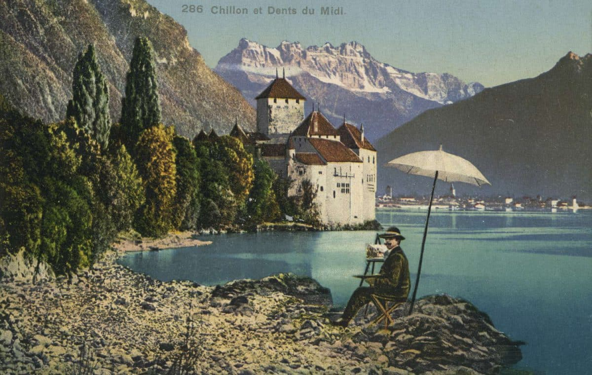Chillon et Dents du Midi, © Phototypie Co., Neuchâtel, carte datée de 1909