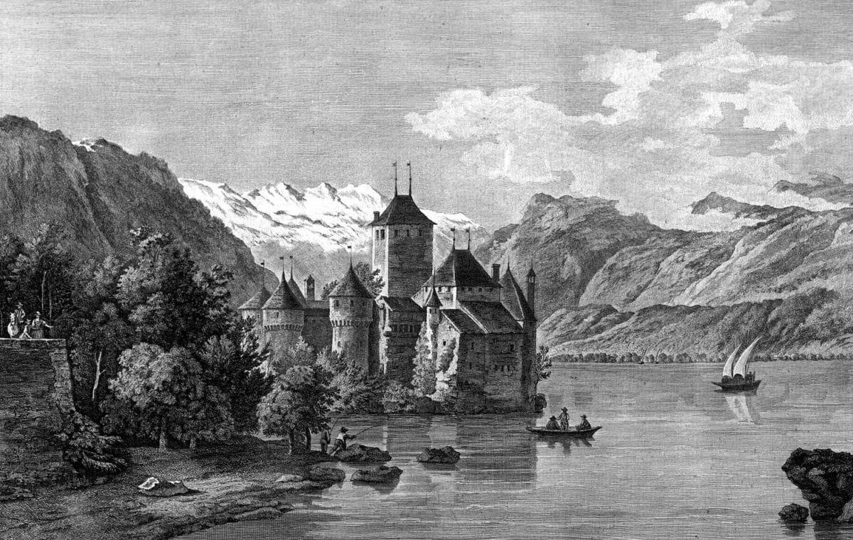 IIe vue du château de Chillon, dans le Canton de Berne, sur le Lac de Genève, prise du côté du Valais, © Bibliothèque cantonale et universitaire de Lausanne, cote 3C 35//1-4, VIATICALPES, graveur, Fessard, Claude Mathieu (1740-1803), dessinateur, Pérignon, Nicolas (1726-1782).