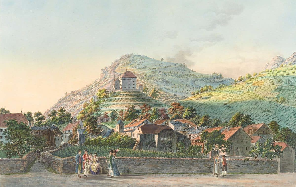 Gravure. Le Hameau de Clarens, côté du lac