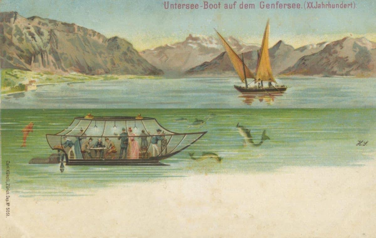Untersee-Boot auf dem Genfersee. XXJahrundert © Carl Künzli, Zürich, carte datée de 1906