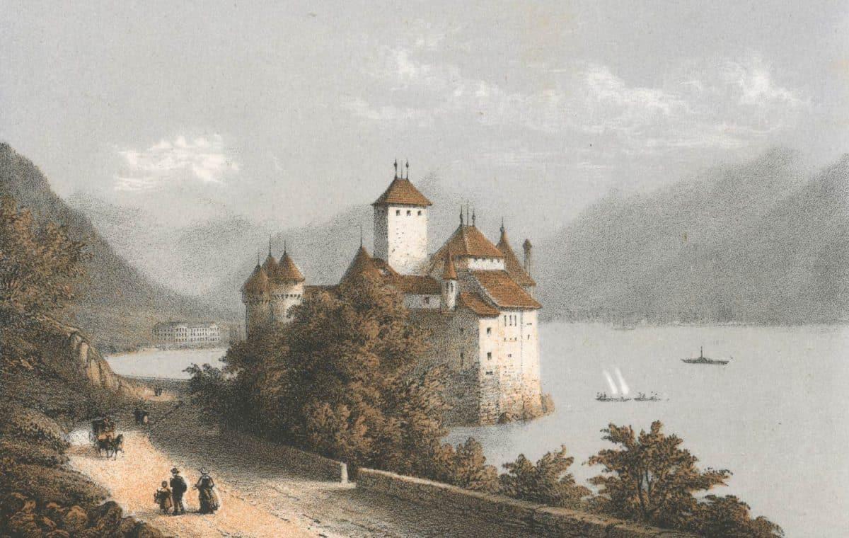 Souvenir de Montreux, Chillon. Dess. d'ap. nature par E. Lafon, Ad. Cuvillier, lith.