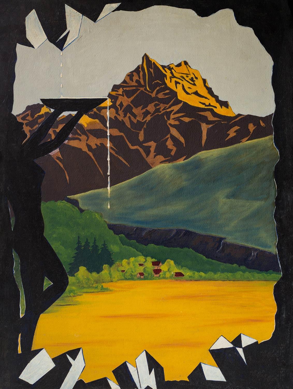"""Aimé Desarzens, projet d'affiche. 1er prix du concours """"Bex-les-Bains"""", organisé par le S.I.D., 1951 (jamais exécuté faute de moyens), peinture sur carton 55 x 72,5cm, collection Mandement de Bex"""