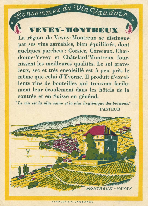 Carte postale. Château du Châtelard. Consommez du vin vaudois