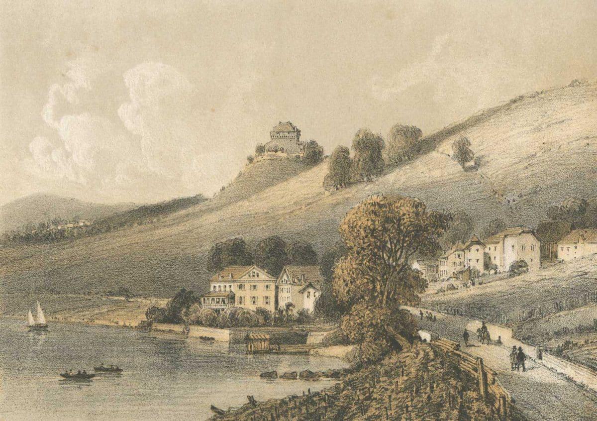 Gravure. Lac Léman, Vernex et le Châtelard