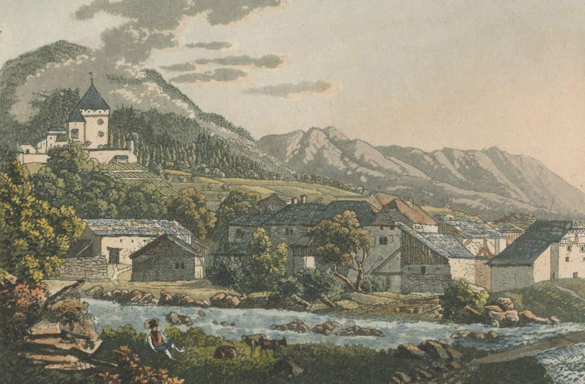 Gravure. Le Hameau de Tavel, au pays de Vaud