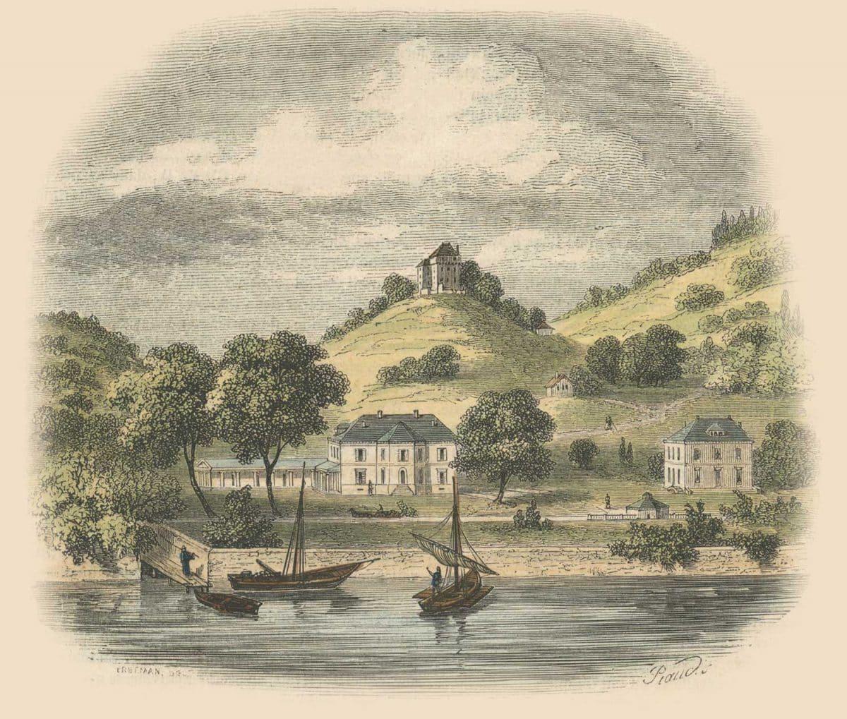Gravure. Vue de Clarens et du Châtelard, le cimetière est placé à mi-côte, où l'on voit une petite maison