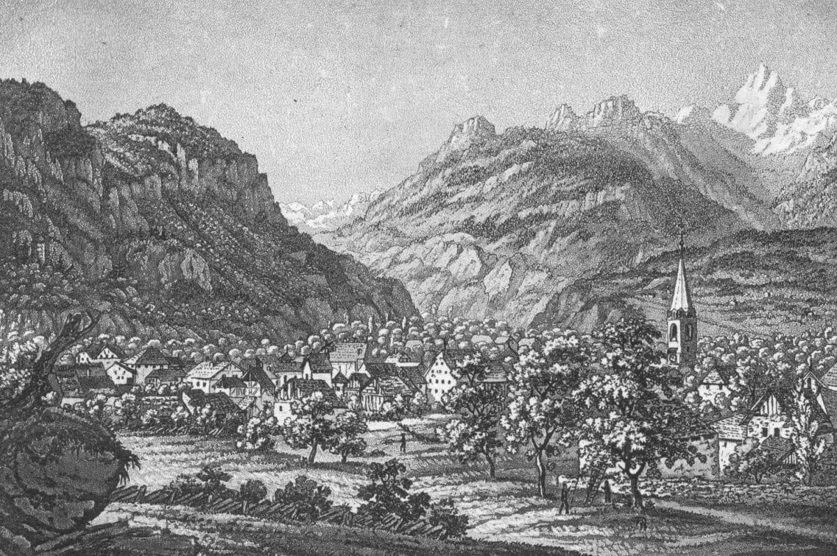 Gravure. Bex, Canton Waadt. 10,3 x 7cm Basel bey Maehly & Schabelitz, collection Mandement de Bex