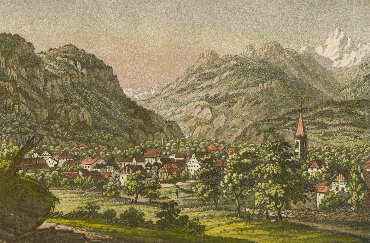Bex, Canton Waadt. Gravure 13 x 7cm. Basel bey Maehly & Schabelitz, collection Mandement de Bex