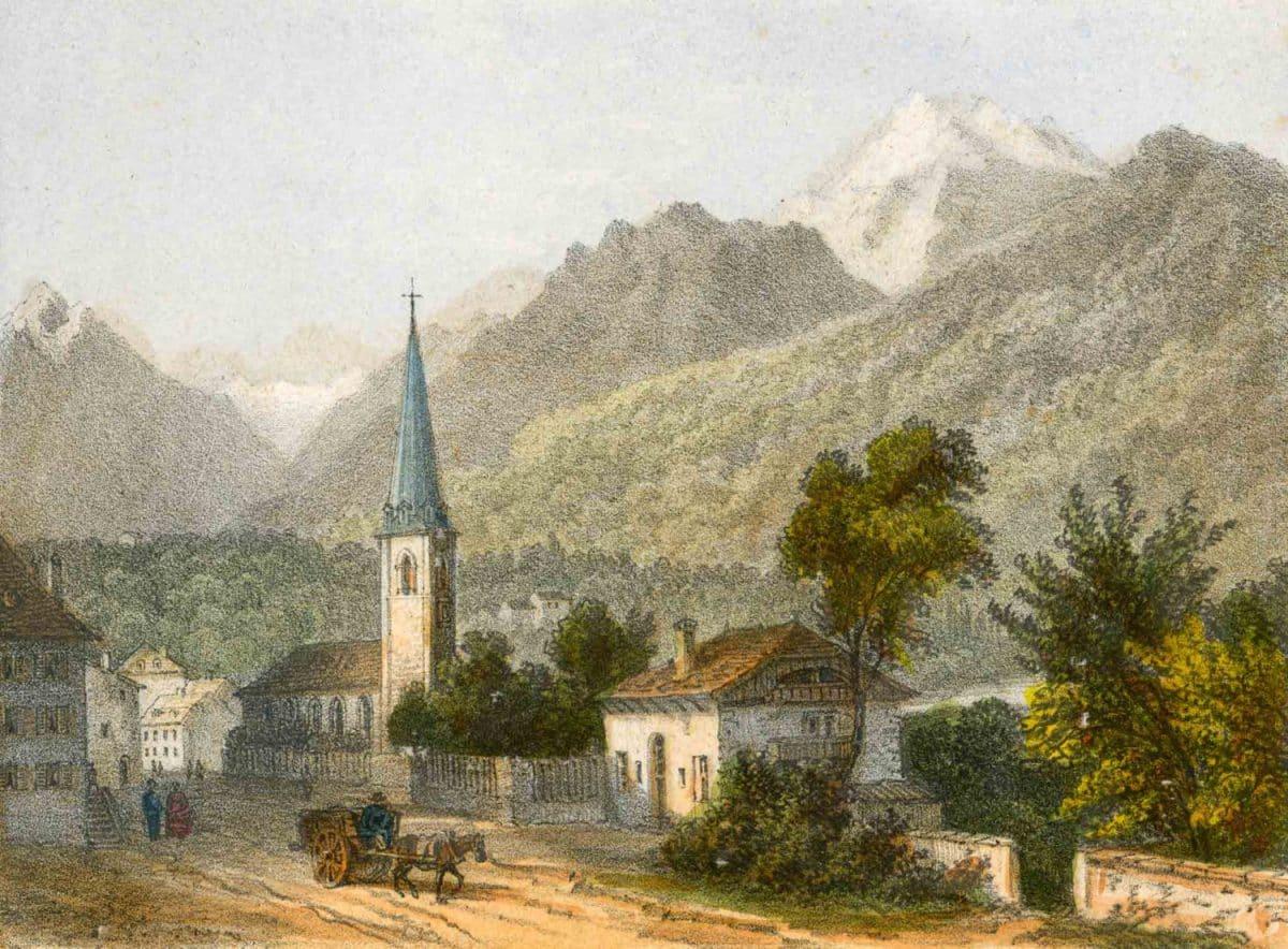 Bex, Canton de Vaud. Gravure 13,5 x 10cm, collection Mandement de Bex