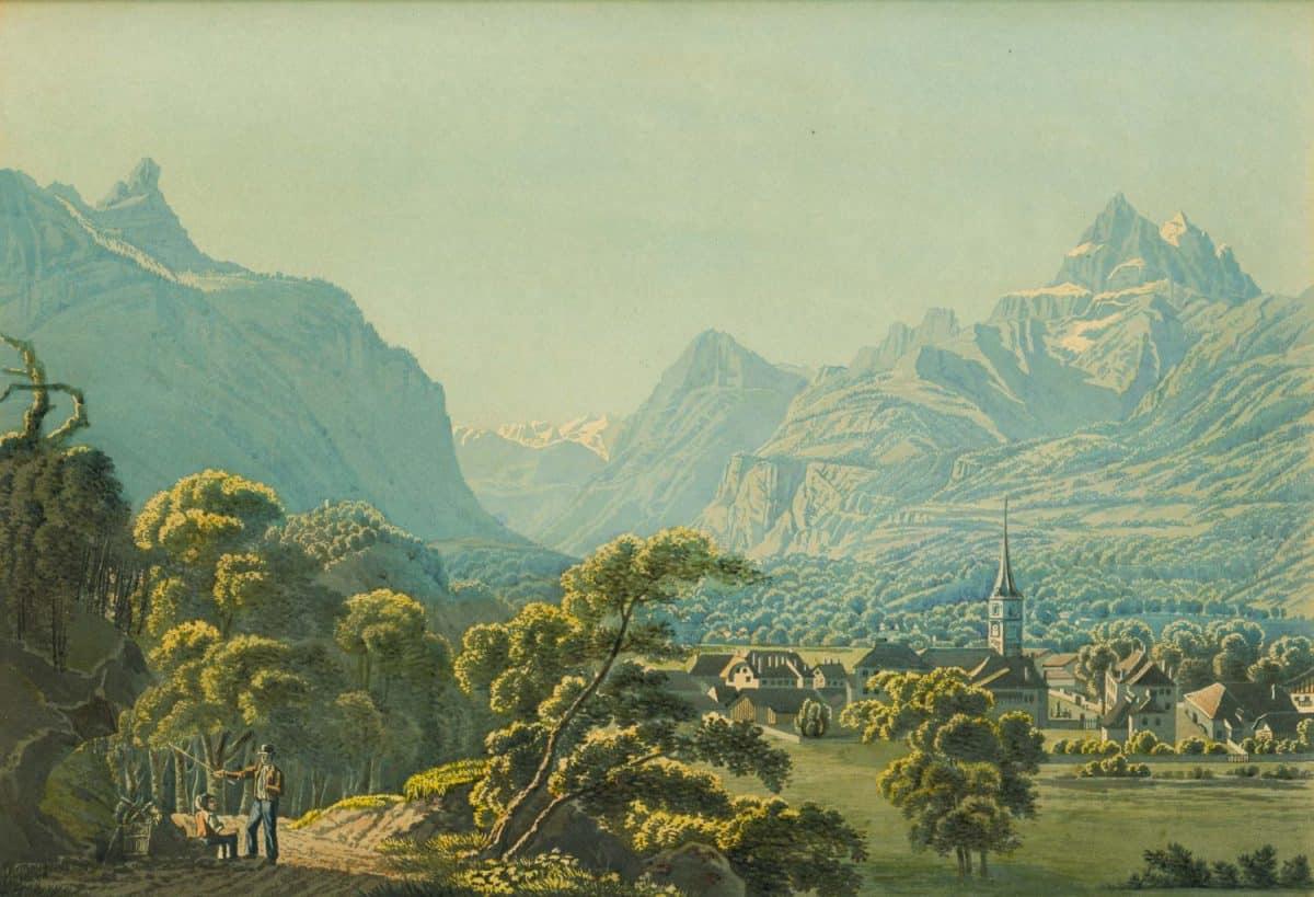 Bex au Canton de Vaud, 1835. Gravure 27,7 x 19,3cm. Dessiné d'après nature par J. Wetzel, gravé par C. Rordorf et publié par Leuthold à Zürich, collection Mandement de Bex