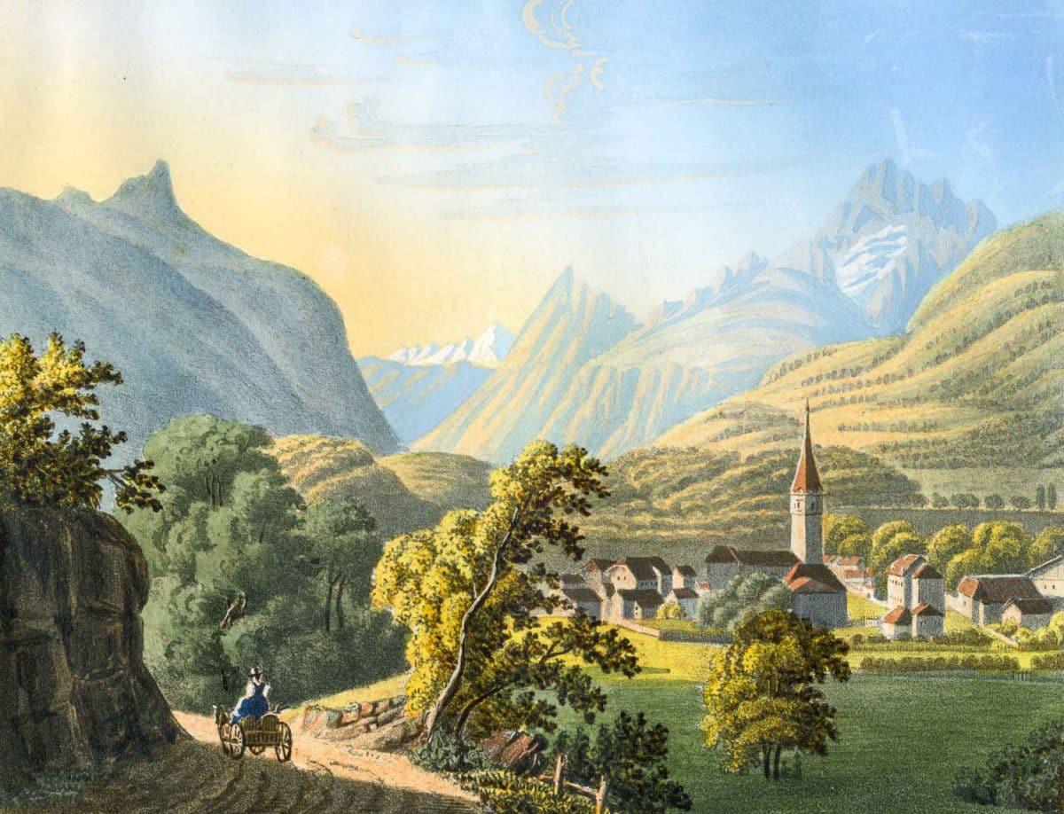 Bex au Canton de Vaud. Gravure datée de 1825, 15,3 x 11,6cm, collection Mandement de Bex