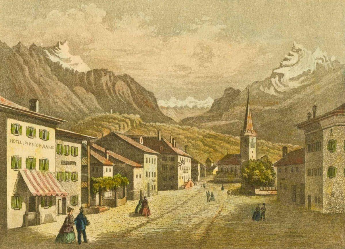 Bex. Gravure 11 x 7,8cm. R. Hofer, Editeur à Vevey, collection Mandement de Bex