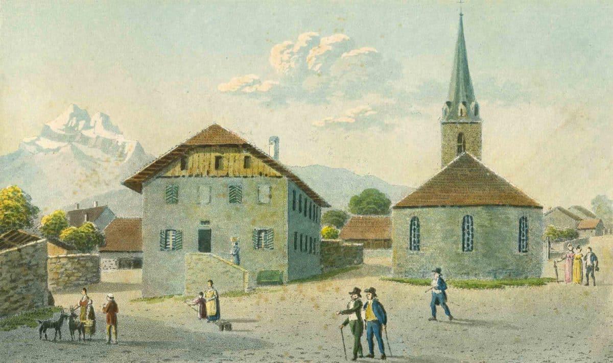 L'église et la cure vers 1830. Aquatinte par Samuel Weibel, 1825, 16,4 x 9,6cm, collection Mandement de Bex