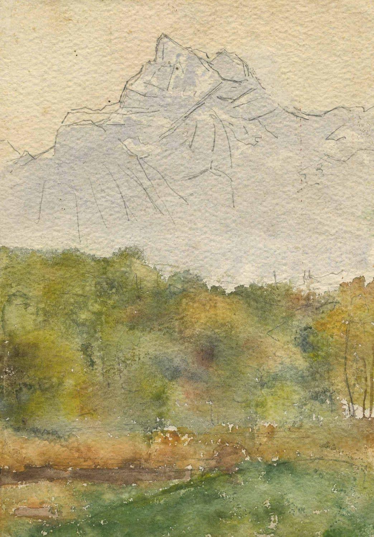 Peinture. Le pont de la teinturerie et la Dent du Midi, exécutée par Mr. Alfred de Peyer (1839-1906)