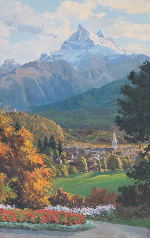 Peinture par Paul Kutscha, 1912. Peintre de paysages et de marines, né à Pruchna le 26 juin 1872. Il travailla à Munich, à Hambourg, à Berlin, à Vienne et même quelques temps à Syndney en Australie. Archives de Bex
