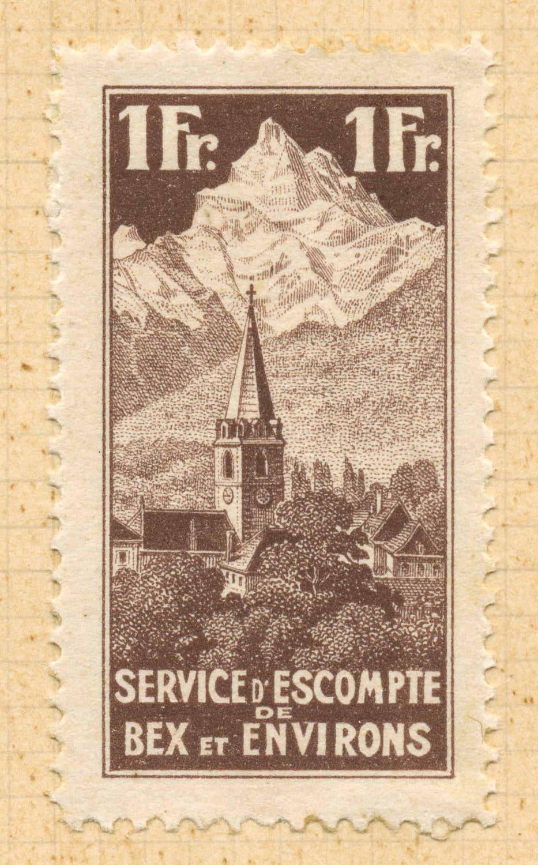 Service d'escompte de Bex et environs. Fondation le 1 mai 1922, épreuve 1Fr., collection Mandement de Bex