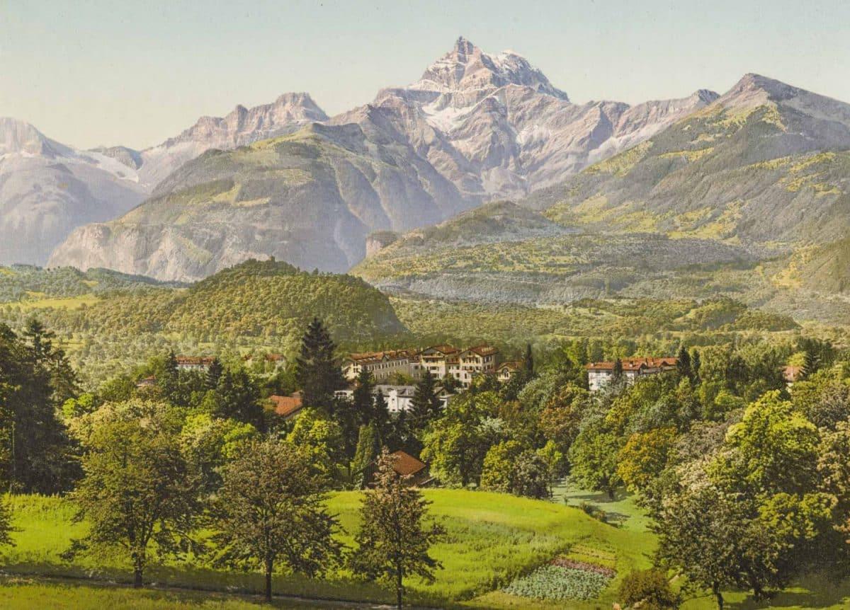 Photochrome, Vallée du Rhône, Bex-les-Bains, Suisse. Le Grand Hôtel des Salines et son établissement de Bains salins