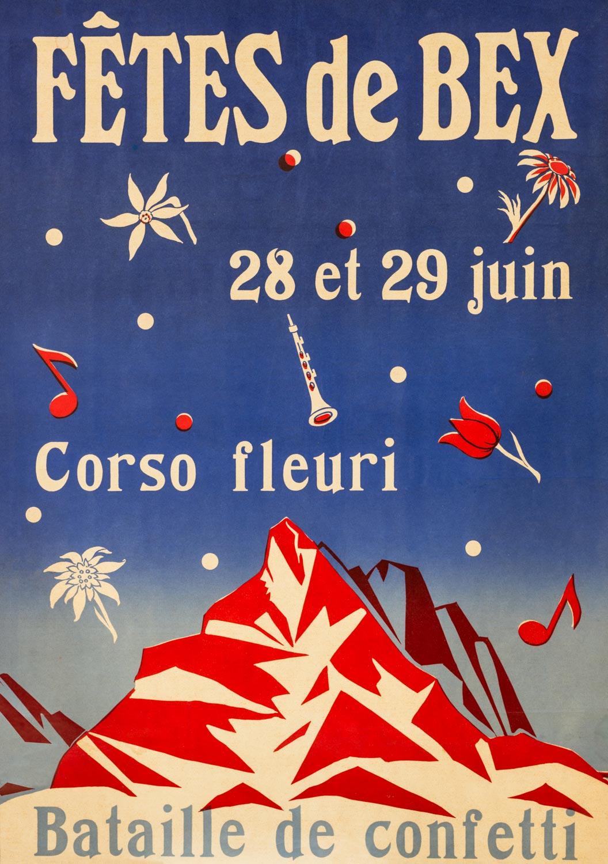 """Affiche des """"Fêtes de Bex, bataille de confetti, Corso fleuri"""", 1952. A. Desarzens, Imprimerie Bach, Bex. 52,5 x 72,5cm, collection Mandement de Bex"""