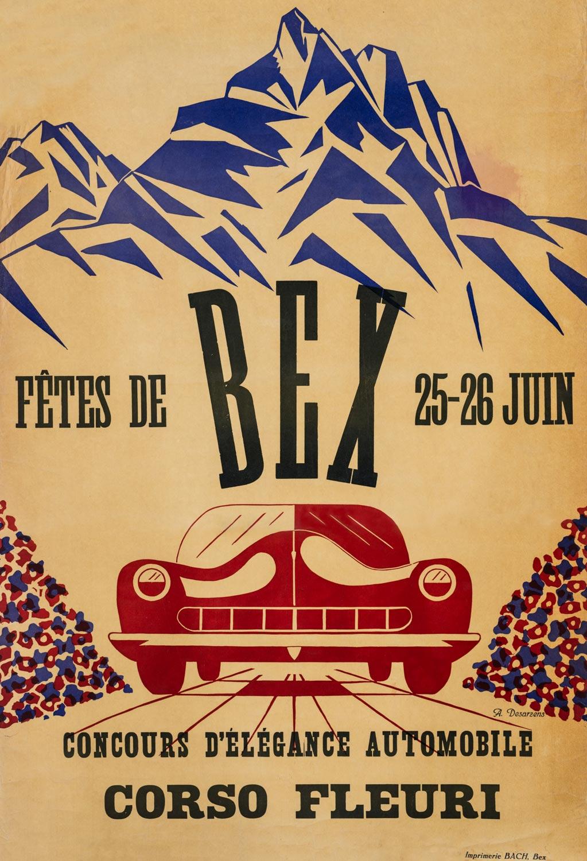 """Affiche des """"Fêtes de Bex, concours d'élégance automobile, Corso fleuri"""", 1949. A. Desarzens, Imprimerie Bach, Bex. 60,5 x 89cm, collection Mandement de Bex"""