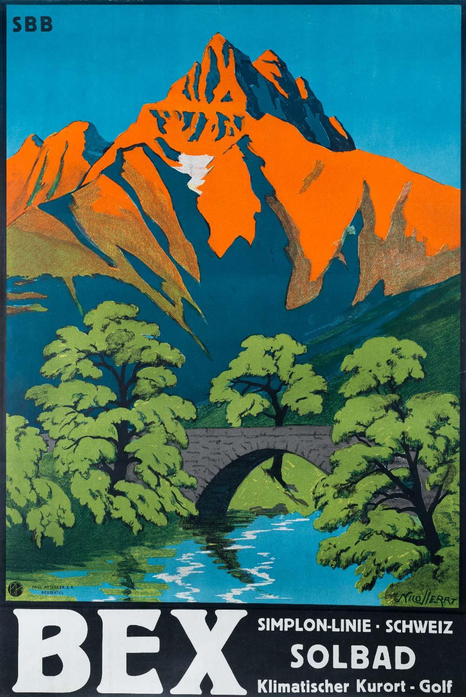 Affiche publicitaire SBB, Simplon-Linie, Schweiz, Solbad, Klimatischer Kurort-Golf