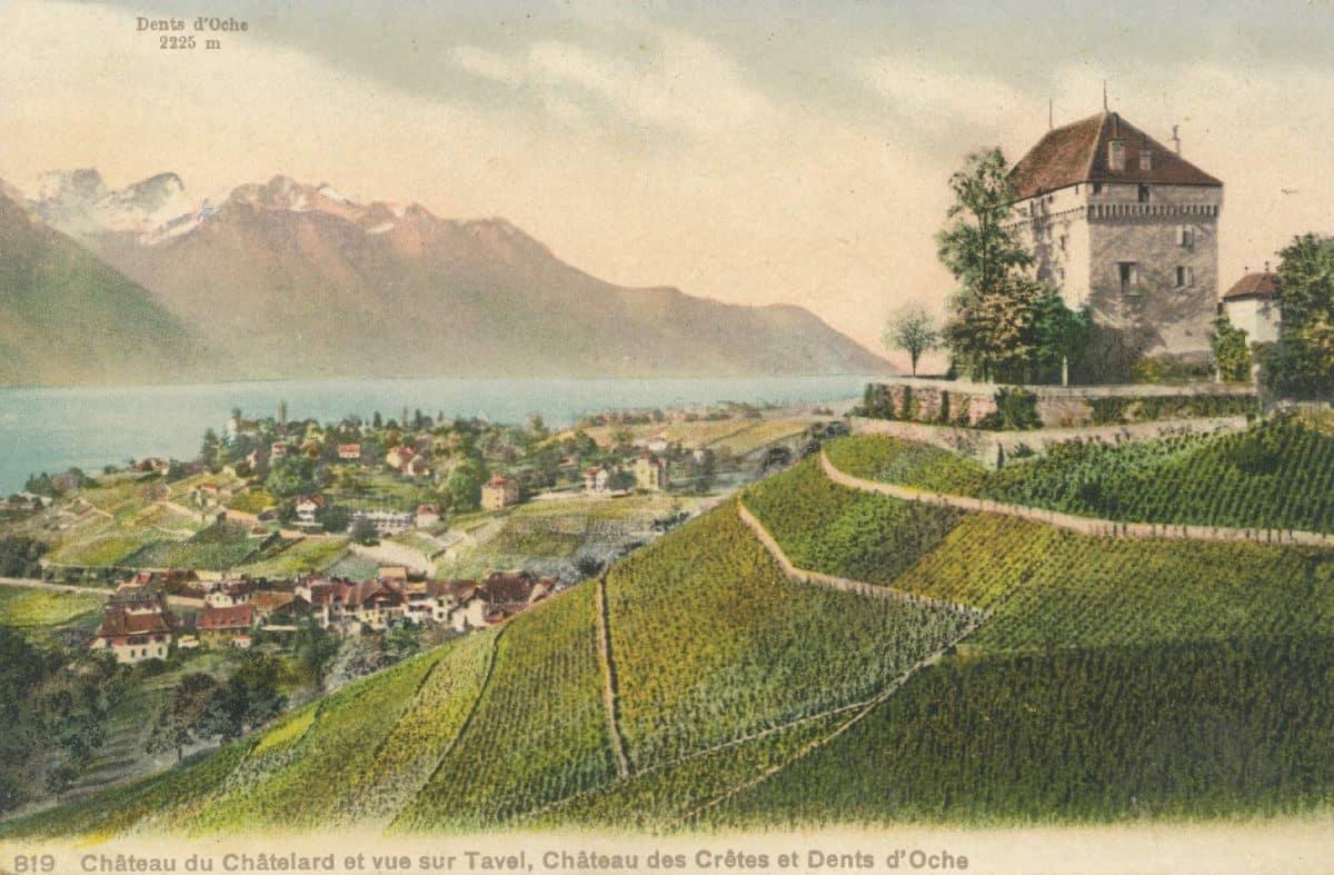 Carte postale. Château du Châtelard et vue sur Tavel, Château des Crêtes et Dents d'Oche
