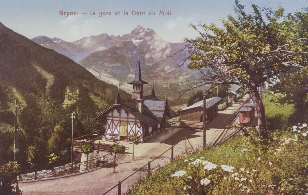 Gryon - La gare et la Dent du Midi