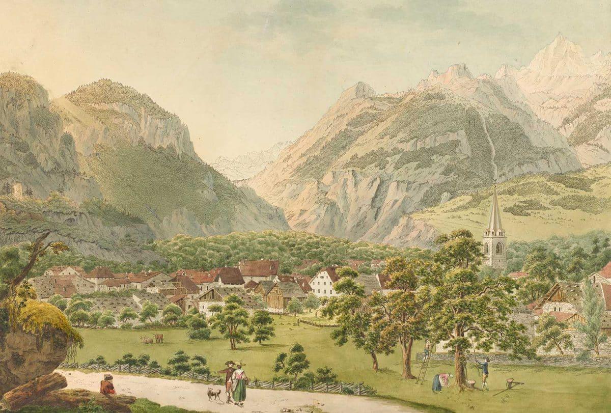 Le village de Bex, l'un des quatre Mandement d'Aigle. Gravure. Bibliothèque nationale suisse, GS-GUGE-JOYEUX-WEXELBERG-A-1b, collection Gugelmann, date inconnue