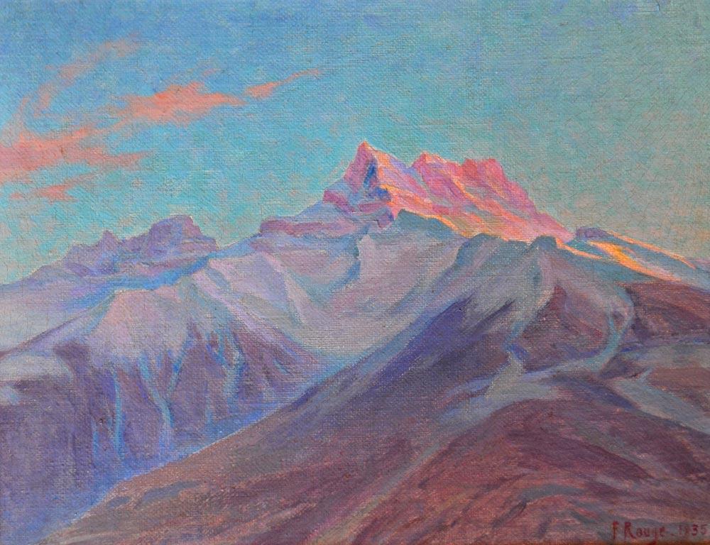 Dents du Midi au coucher du soleil, 1935. Huile sur toile 40 x 50cm (dimensions avec cadre). Collection privée