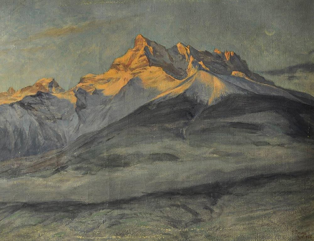Les Dents du Midi en hiver, 1906. Huile sur toile 30 x 39,5cm. Fondation Frédéric Rouge