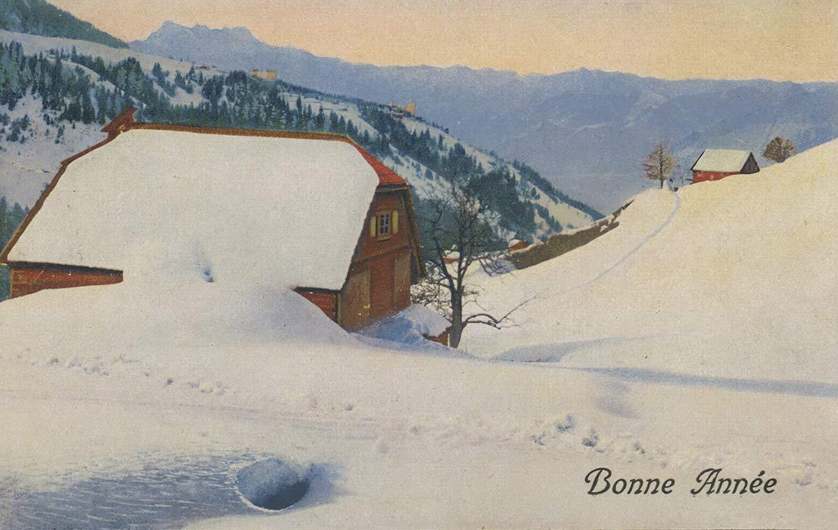 Les Dents du Midi, Bonne Année © Ed. Art. Perrochet-Matile, Lausanne, carte datée de 1923