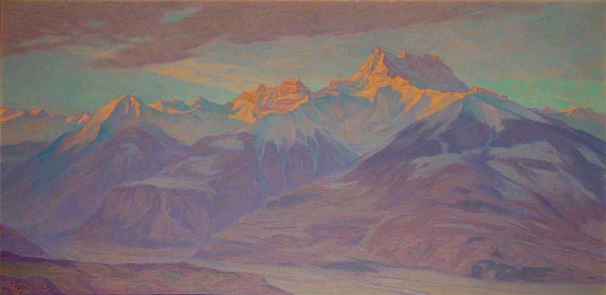 Lever de soleil sur les Dents du Midi, 1922. Huile sur toile 82 x 163cm. Collection Commune d'Aigle