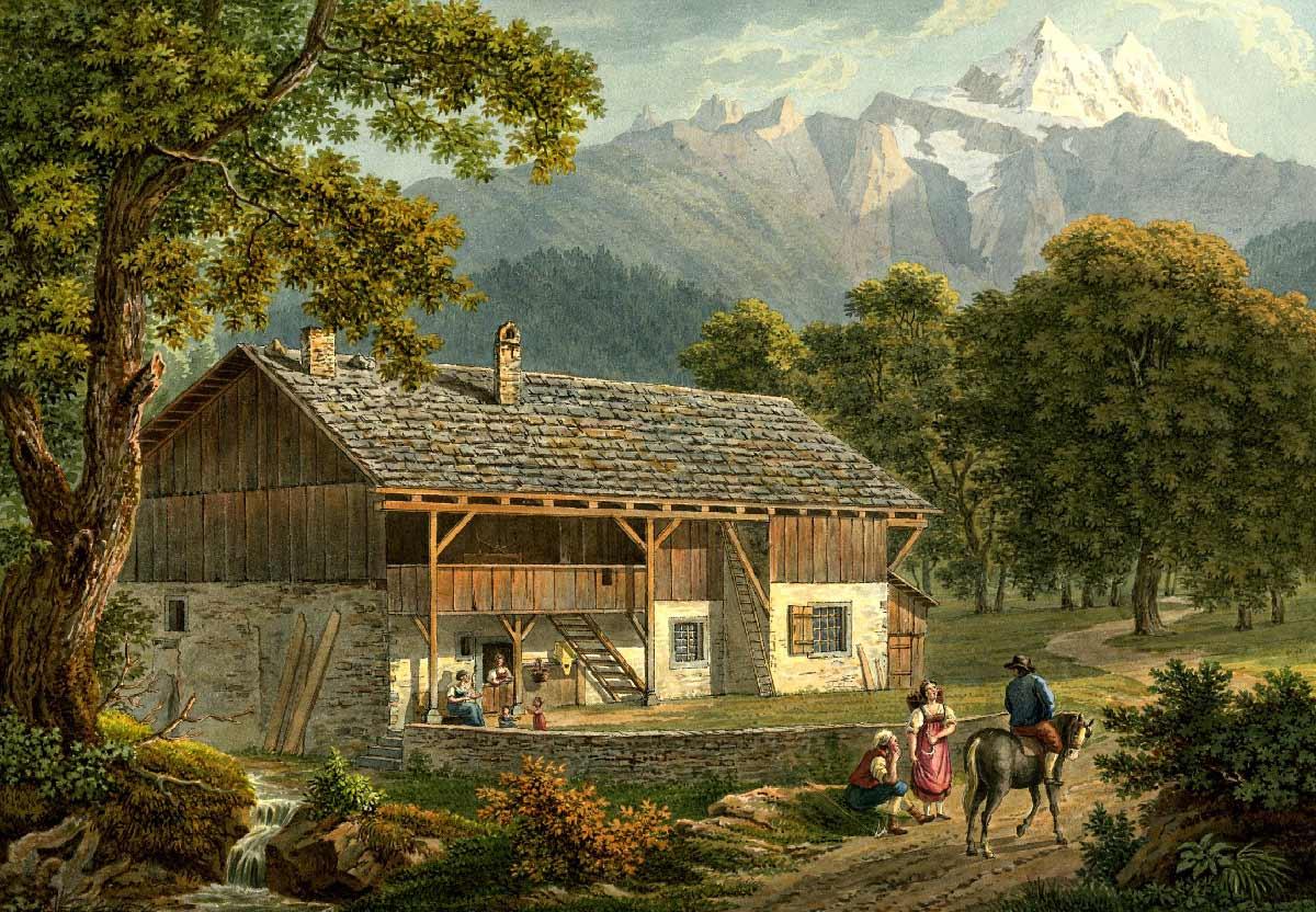 """Maison de paysan à Bex et Dent du Midi, 1810 - 1836. Dessiné d'après nature par Samuel Frey. Collection """"The British Museum"""""""