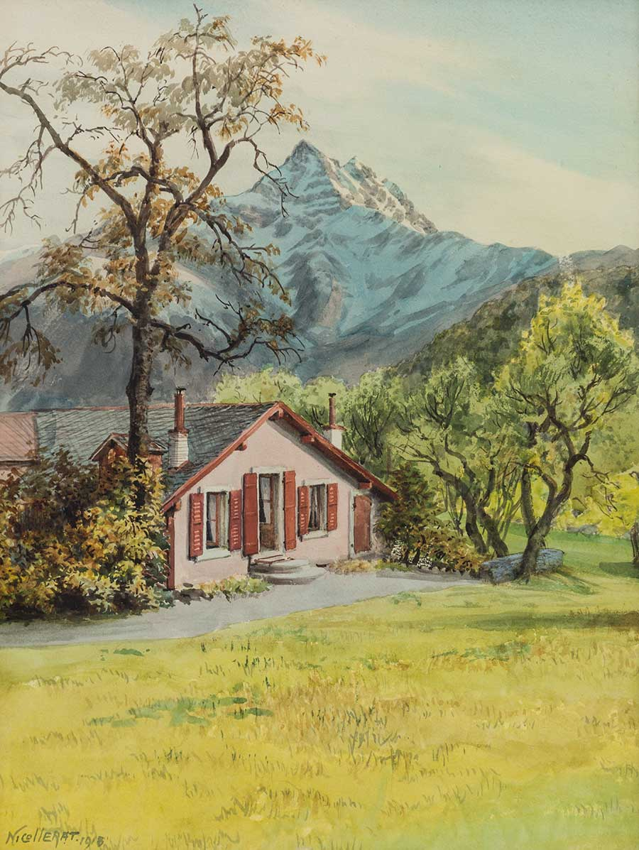Maison et les Dents du Midi, 1918. Aquarelle sur papier 53 x 40cm. Collection privée