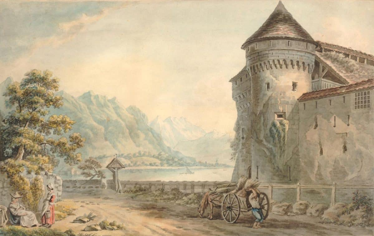 "Vue du Château de Chillon à 2 lieues de Vevey. Dessiné par feu Mr. Brandoin, gravé par J.G. Waldorp, 1792. Mis au jour sous la Direction de Mr. L.B. Coclers, Septe. 1792. Colveniers Burgwal N° 10 à Amsterdam. 33,9 x 47,5cm. Collection ""The British Museum"""