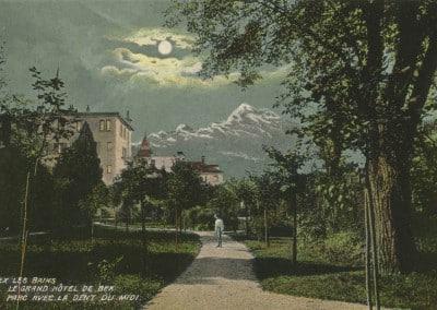 Bex les Bains, Le Grand Hôtel de Bex, Parc avec la Dent du Midi, © Artist. Atelier H. Guggenheim & Co., Editeurs, Zürich