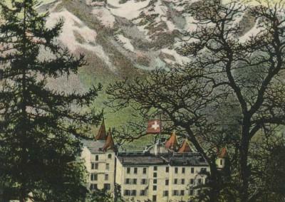 Bex les Bains, Le Grand Hôtel de Bex, Vue sur la Dent du Midi, © Artist. Atelier H. Guggenheim & Co., Editeurs, Zürich