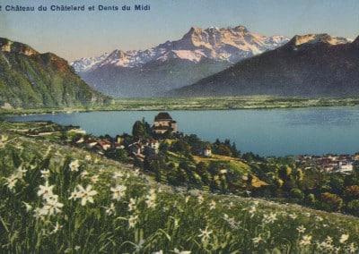 Château du Châtelard et Dents du Midi, © Phototypie Co., Neuchâtel, carte datée de 1907