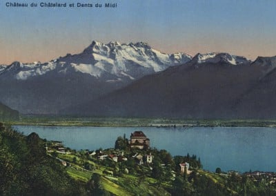 Château du Châtelard et Dents du Midi, © Société Graphique Neuchâtel, carte datée de 1951