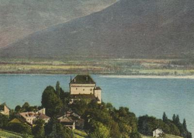 Château du Châtelard et la Dent du Midi, © Charnaux frères & Co., Genève, carte datée de 1913