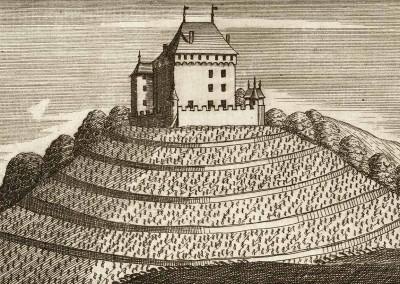 Chatelar, appartient à Monsieur Bondeli ancien seigneur Comand d'Arbourg, Baron de Chatelar, 1744, Johann Ludwig Nöthiger (1719 - 1782), collection Gugelmann