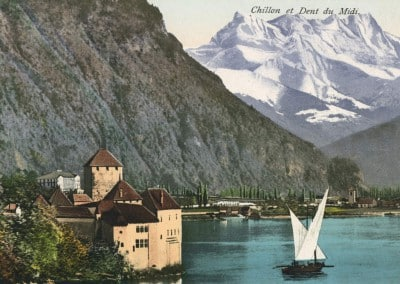 Chillon et Dent du Midi, © E. Rossier, Nyon