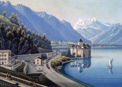 Chillon-et-la-Dent-du-Midi.-Dessiné,-gravé-et-publié-par-R.-Dikenman-peintre-à-Zürich,-1860