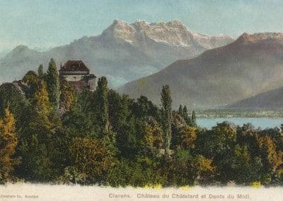 Clarens, Château du Châtelard et Dents du Midi, © Phototypie Co., Neuchâtel, carte datée de 1907