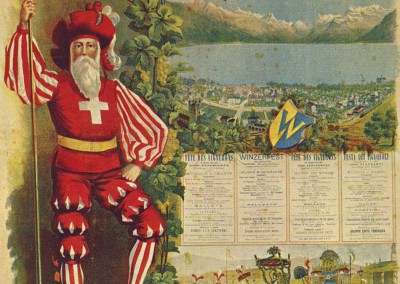 Fête des Vignerons, les 5, 6, 8 et 9 août 1889, Vevey, Suisse. Lithographie couleur Renner & Charton, Vevey, 98 x 64cm. Réf. Ca-123, Bibliothèque de Genève