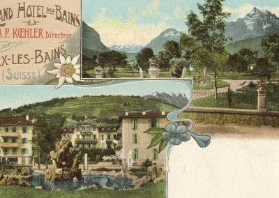 Grand Hôtel des Bains, M.P Koehler Directeur, Bex-les-Bains (Suisse), © A. Martin Phot. Bex