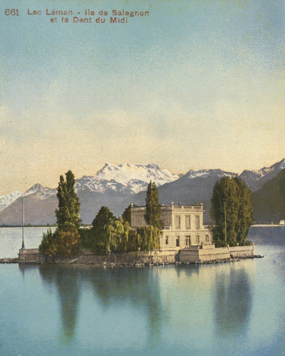 Lac Léman, Île de Salagnon et la Dent du Midi. © Edition Photoglob Co., Zürich, www.photoglob.com