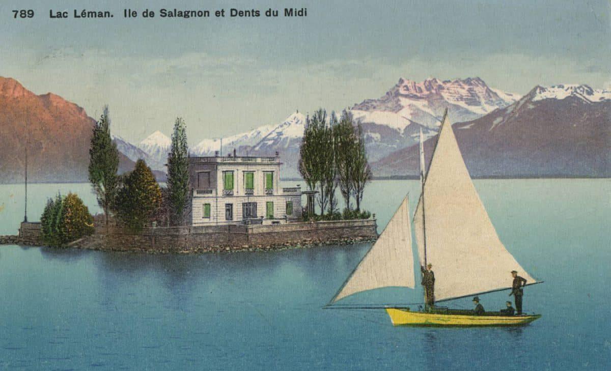Lac Léman. Île de Salagnon et Dents du Midi. © Phototypie Co., Neuchâtel, carte datée de 1915