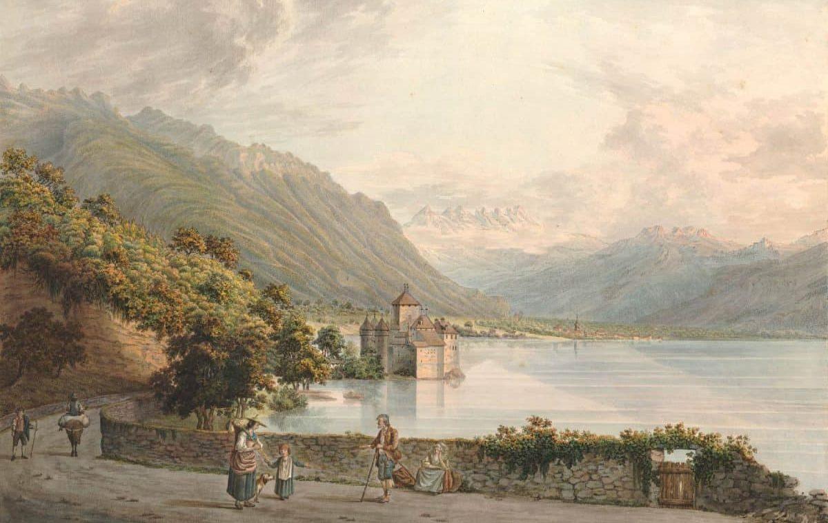 Le château de Chillon en Alant de Vevey à Villeneuve, 1780 - 1800. Dédié à son altesse Royale Monseigneur Le Prince Auguste Frederich d'Angleterre. Dessiné d'aprés nature par L. Joyeux et G Wexelberg