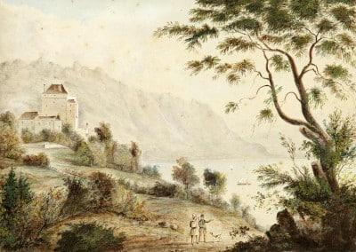 Le château du Châtelard par Joseph-Eugène Desvernois (1790-1872), 22 x 31cm, source Auktionshaus Zofingen