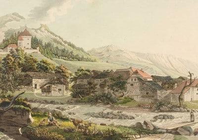 Le hameau de Tavel dans le baillage de Vevey par Pierre Samuel Louis Joyeux, 32,6 x 48,6cm, date inconnue, collection Gugelmann